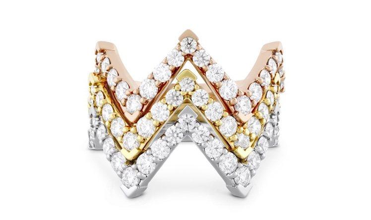 TRIPLICITY系列三角幾何鑽石戒指,18K白金、玫瑰金和黃金各鑲嵌重0.7...