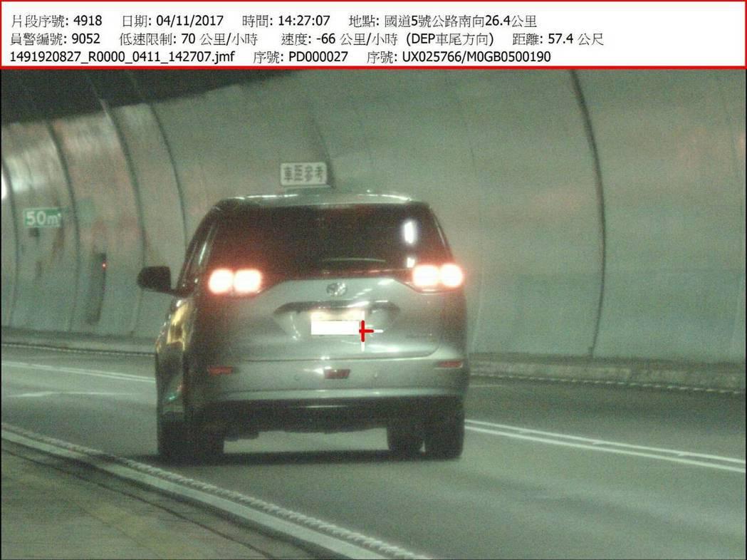 雪隧取締時速低於70公里的龜速車,第2輛遭舉發車輛時速66公里,與前車距57.4...