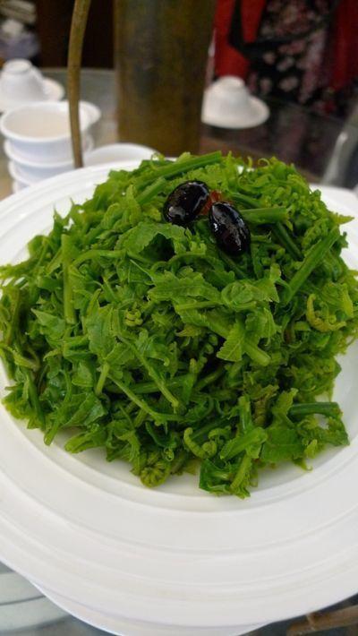 俗稱「過貓」的山蕨葉,淋上和風醬就很美味。(圖/薛琳云)