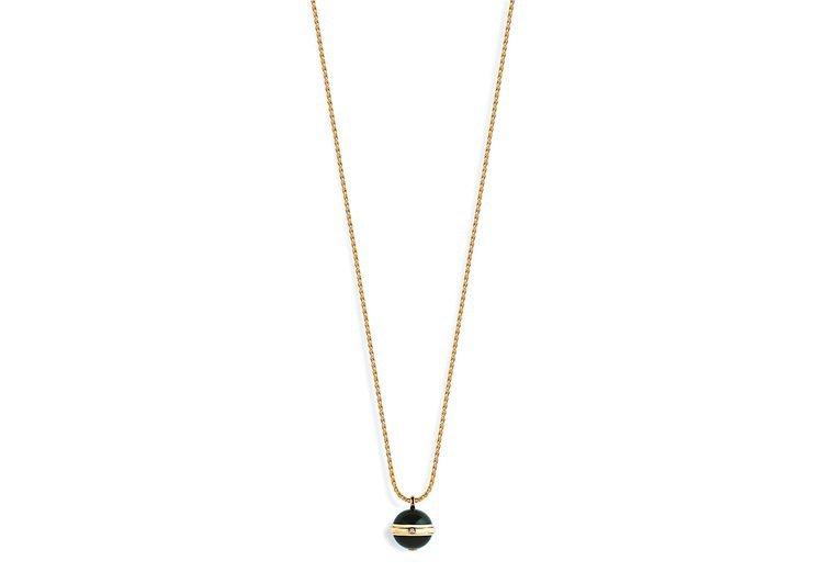 Possession18K玫瑰金黑縞瑪,鑲嵌單顆圓形美鑽及2顆黑縞瑪瑙圓珠,約1...