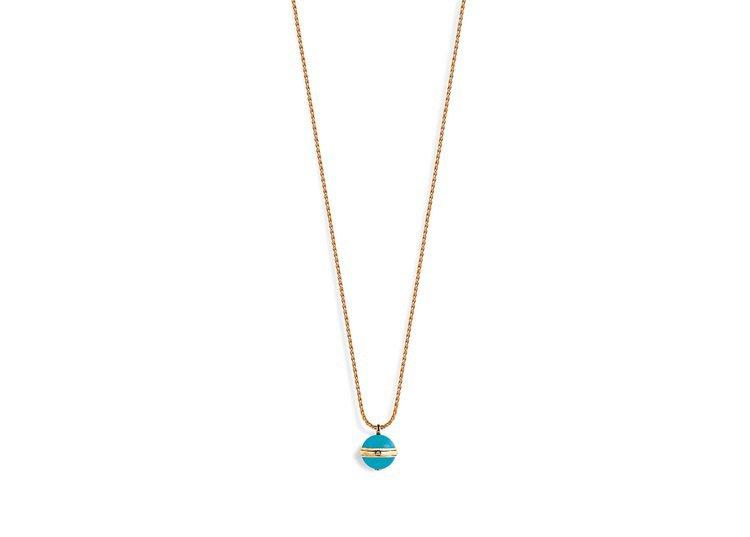 Possession系列18K玫瑰金鑲嵌綠松石項鍊,鑲嵌單顆圓形美鑽及2顆綠松石...