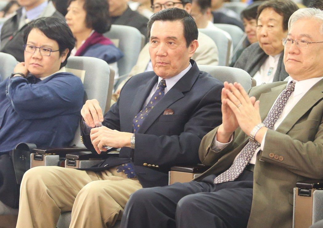 前總統馬英九到場聆聽長風講座。記者黃威彬/攝影