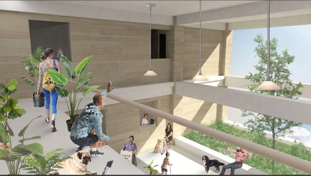 陳昀、葉俞君設計的金獎作品「疊院」,以台南市巷弄角落是居民下棋聊天場所概念,納入...