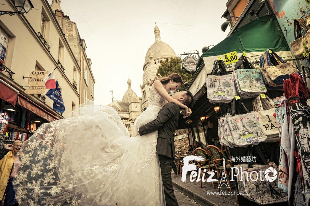 劉伊心和老公林志隆在法國浪漫婚紗照曝光。圖/D-S Wedding婚紗、feli