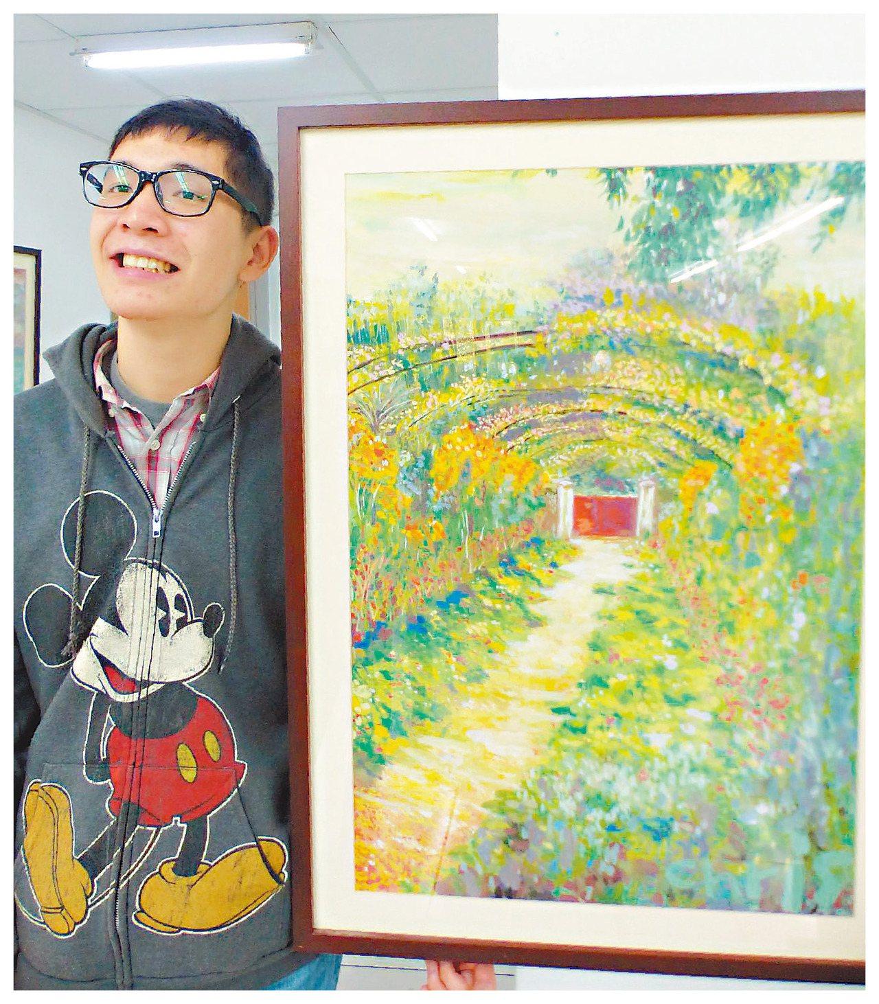 郝先誠旅遊法國莫內花園後,把旅遊經歷畫成畫作。 記者趙容萱/攝影