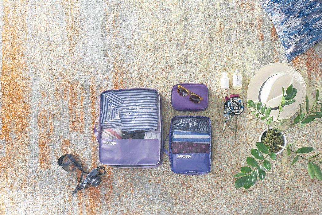 「打包全世界PANTONE旅行三件組」,外硬盒可放3C用品或不耐壓的保養瓶罐,軟...