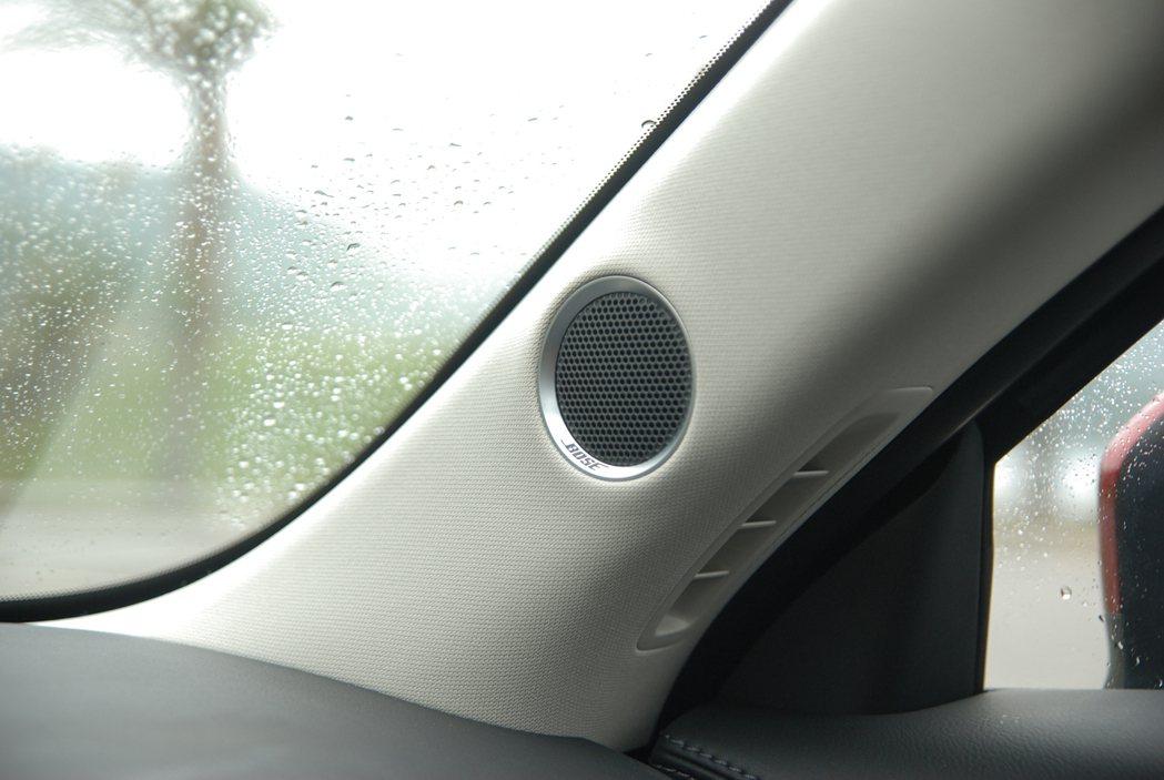 2WD 汽油旗艦型與本次試駕的 AWD 柴油旗艦型皆配備 Bose 環繞音響(全車共 10 具揚聲器),圖為左右 A 柱的喇叭。 記者林鼎智/攝影