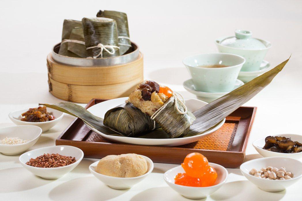 台北君悅酒店虎掌紅米粽,藉由紅米、長糯米組合,並添加虎掌為餡。圖/台北君悅酒店提...