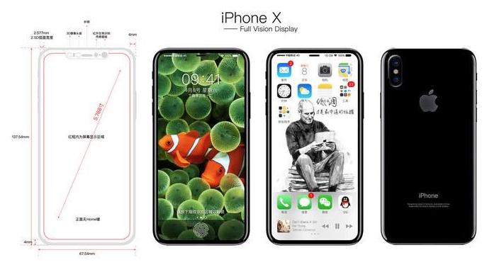 中國網友疑似曝光iPhone 8的外觀設計草圖和螢幕示意圖。圖擷自KK低調推特