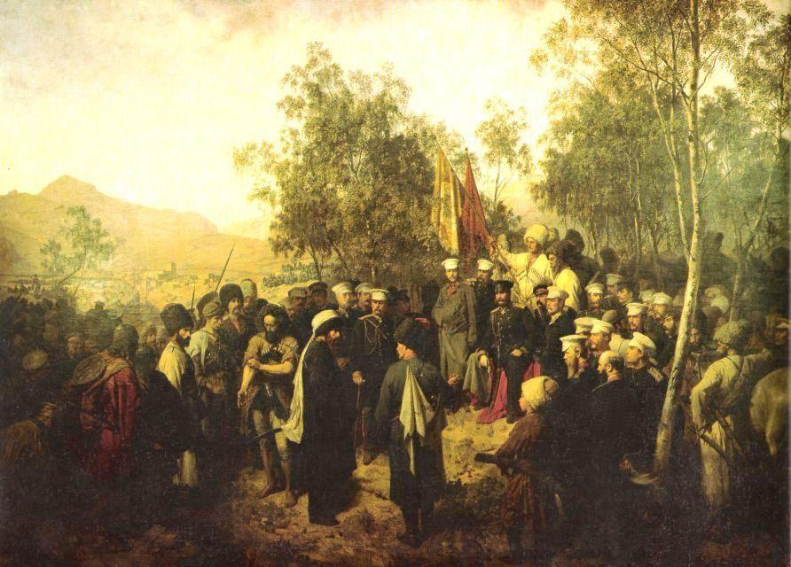 在高加索戰爭中力抗俄軍的伊瑪目沙米爾(頭戴白巾者),是當時北高加索達吉斯坦與車臣...
