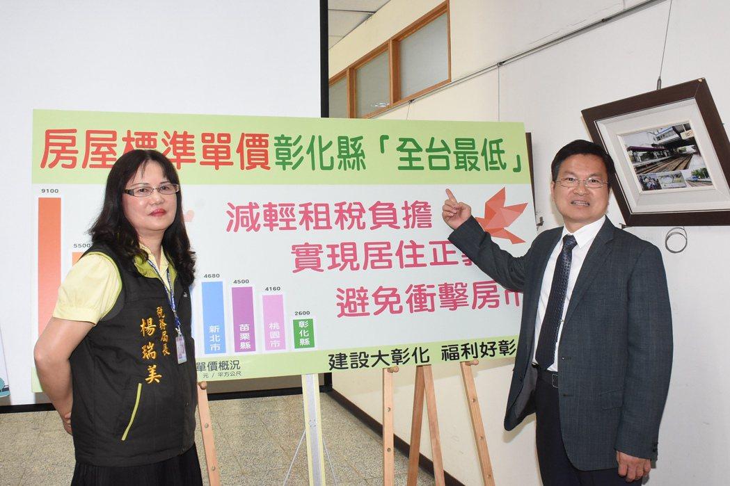 彰化縣長魏明谷(右)宣布未來三年內房屋稅不調漲,以減輕稅利民。記者林敬家/攝影