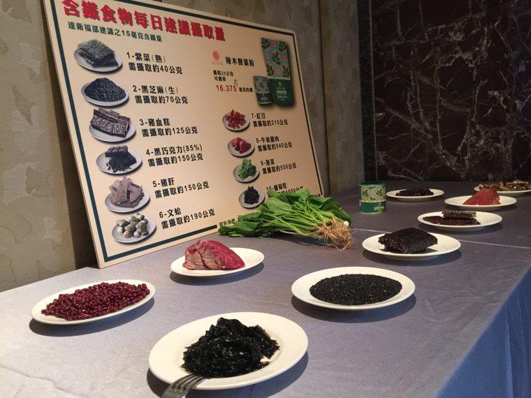 補鐵好食材,包含紫菜、黑芝麻、豬血糕、豬肝等。記者黃安琪/攝影