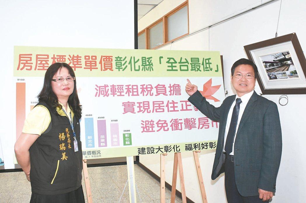 彰化縣長魏明谷(右)宣布未來三年內房屋稅不調漲,以減輕稅利民。 記者林敬家/攝影