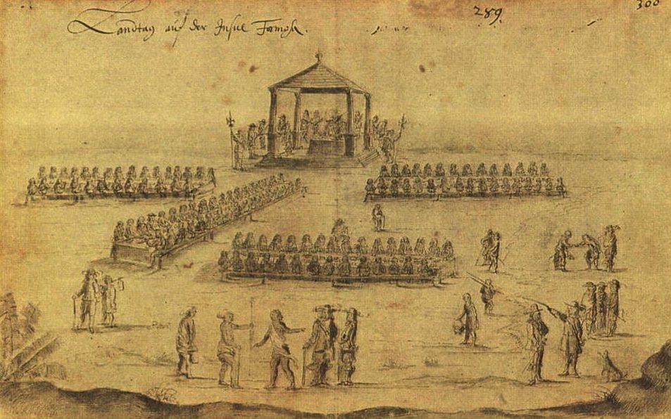 1648年德國人繪製荷蘭東印度公司所辦理的「地方會議」中宴飲用餐的情形,可說是臺...