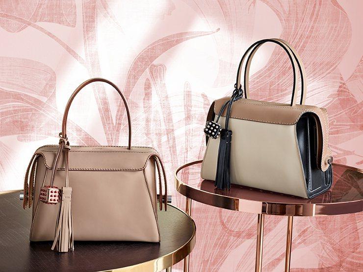 TOD'S Twist Bag以撞色皮革拼接打造,提供多種配色選擇,大玩春夏色彩...
