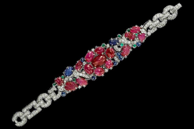 卡地亞古董珍藏系列Tutti Frutti水果錦囊手環,鉑金、琺瑯、紅寶石、藍寶...