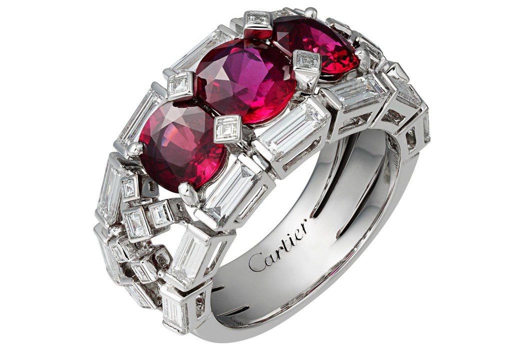 卡地亞頂級珠寶系列紅寶鑽石戒指,鉑金鑲嵌紅寶石、鑽石,785萬。圖/Cartie...