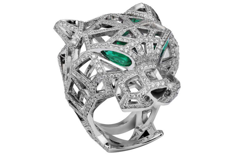 卡地亞高級珠寶系列美洲豹鏤空鑽石戒指,白K金鑲嵌鑽石、縞瑪瑙、祖母綠眼,241萬...