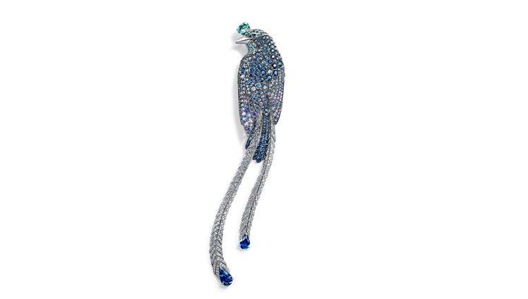 2017 Blue Book系列鉑金雀鳥胸針,鉑金鑲嵌碧璽、藍寶石及藍色銅鋰碧璽...