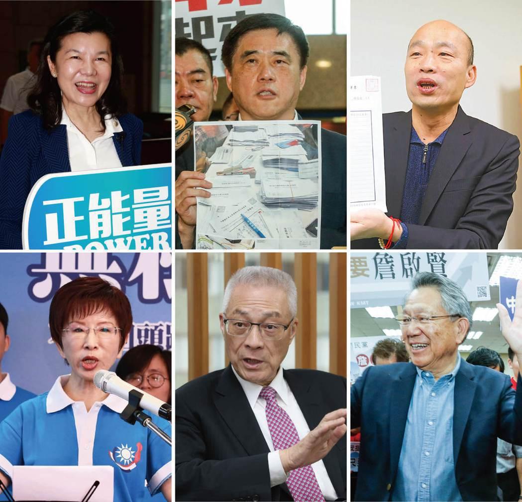 國民黨主席選舉,六位參選人都通過合格黨員百分之三的連署門檻。 圖/本報資料照