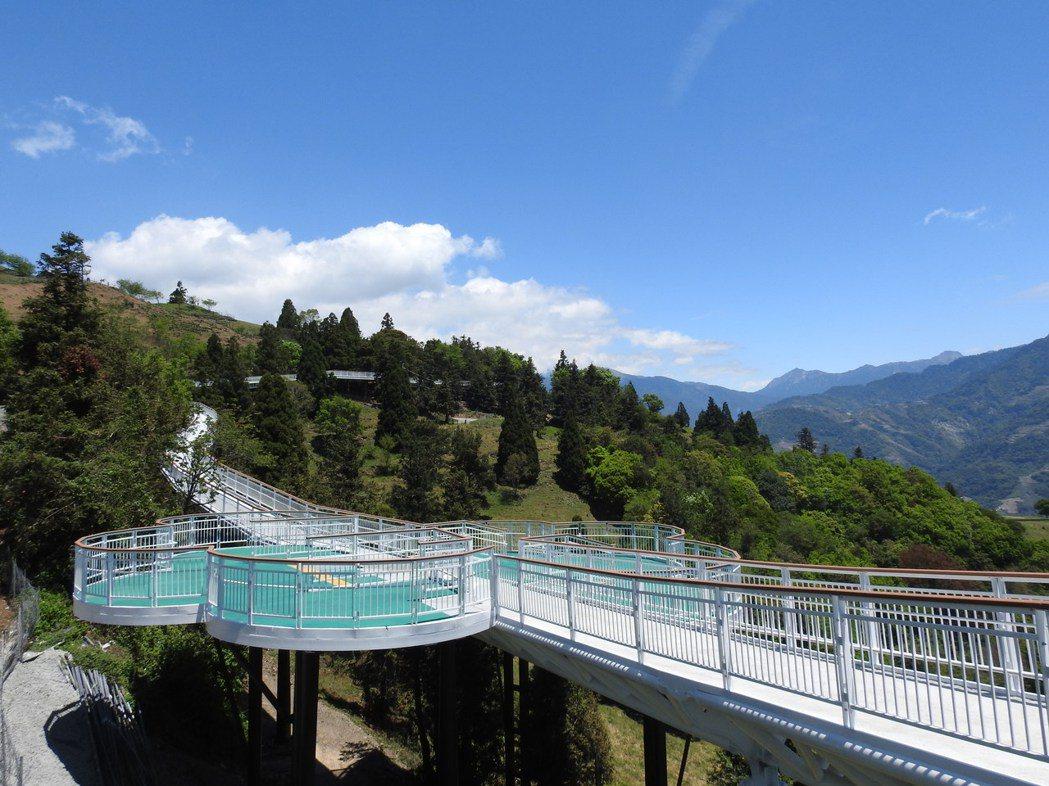 清境高空觀景步道純白蜿蜒在山林間,最大賣點就是能無障礙遠眺高山景致。記者賴香珊/...