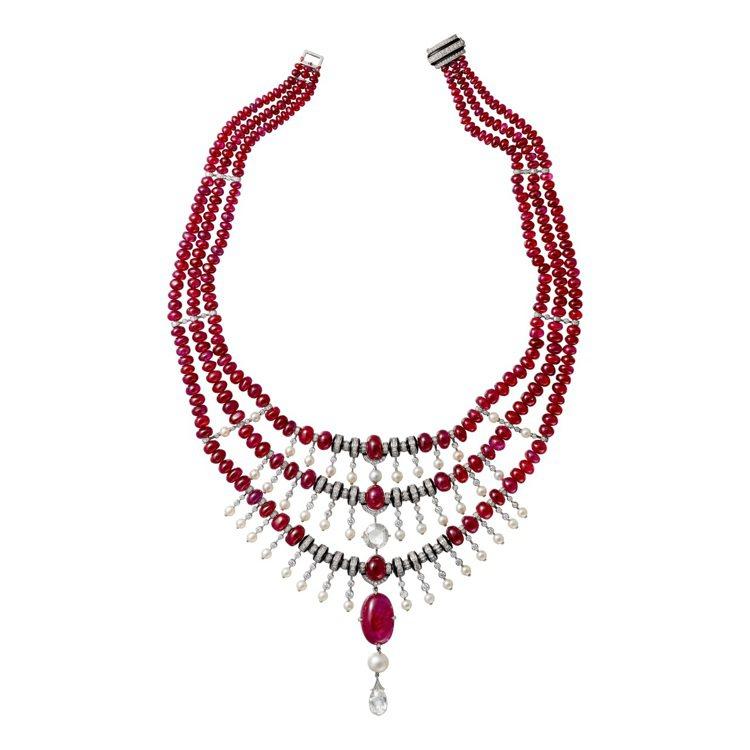 Shamash紅寶石珠鑽石項鍊,鉑金鑲嵌17.45克拉凸圓形塔吉克紅寶石主石,水...