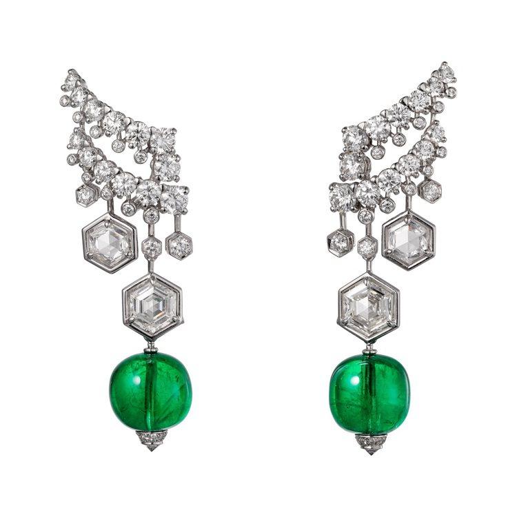 Adrasté祖母綠鑽石耳環,鉑金鑲嵌兩顆共重18.73克拉的尚比亞祖母綠圓珠、...