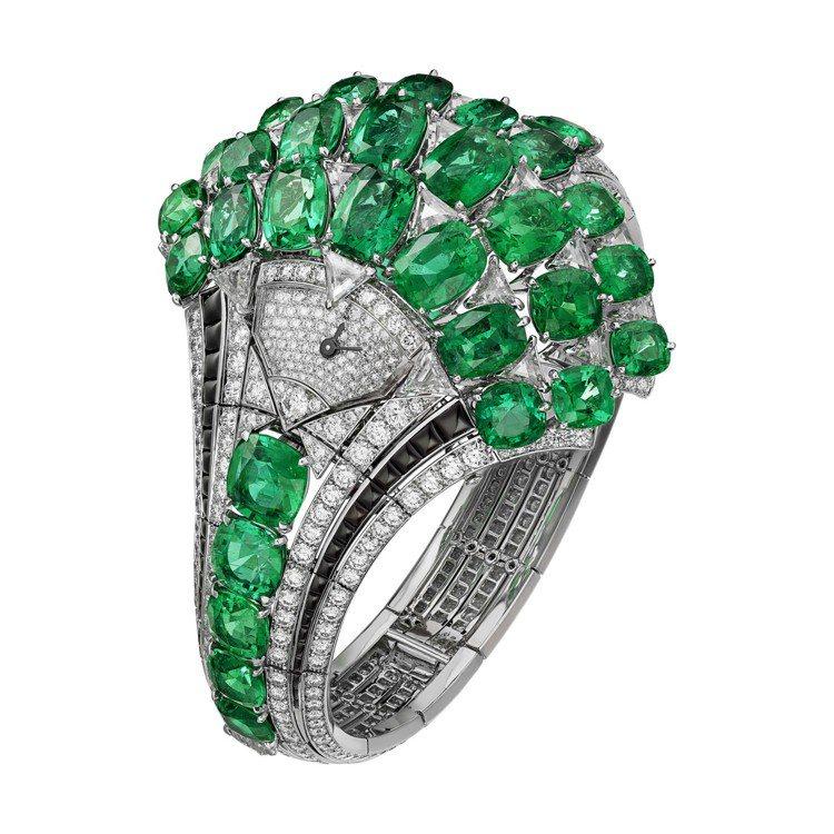 PAPYRUS頂級珠寶系列祖母綠腕表,白K金鑲嵌尚比亞祖母綠,搭配三角和明亮式切...