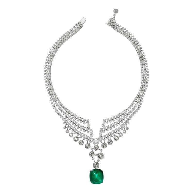 Adrasté祖母綠鑽石項鍊,鉑金鑲嵌26.28克拉哥倫比亞祖母綠,8顆六角形鑽...