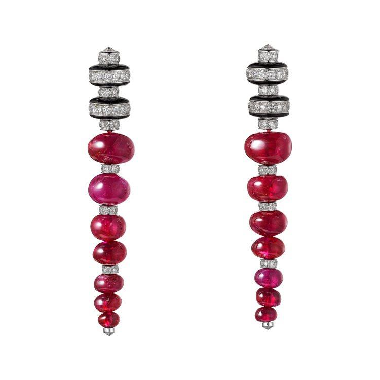 Shamash紅寶石珠鑽石耳環,鉑金鑲嵌重24.76克拉的紅寶石珠、縞瑪瑙、明亮...