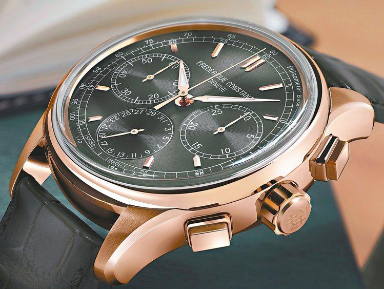 康斯登今年推出第一枚自製機芯飛返計時腕表。 圖/業者提供、摘自官網