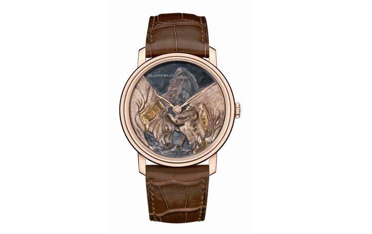 寶珀藝術大師腕表將瑞士知名景點馬特洪峰和雙牛爭王的傳統呈現於赤銅工藝表盤,511...