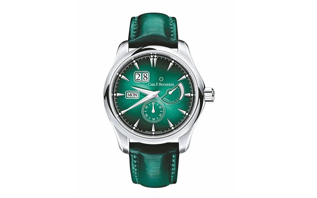 寶齊萊今年為Manero動力儲存腕表推出松綠色表盤的版本,37萬元。 圖/業者提...