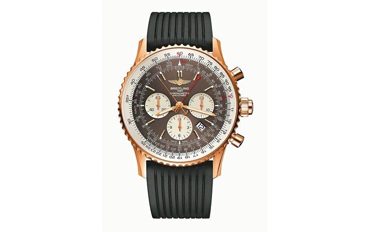 百年靈推出搭載全新B03機芯的Navitimer計時雙追針腕表,18k玫瑰金,1...