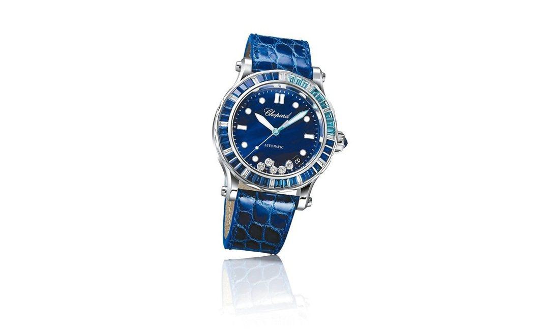 蕭邦Happy Ocean 18K白金材質腕表,5顆滑動鑽石表盤,自動機芯,價格...