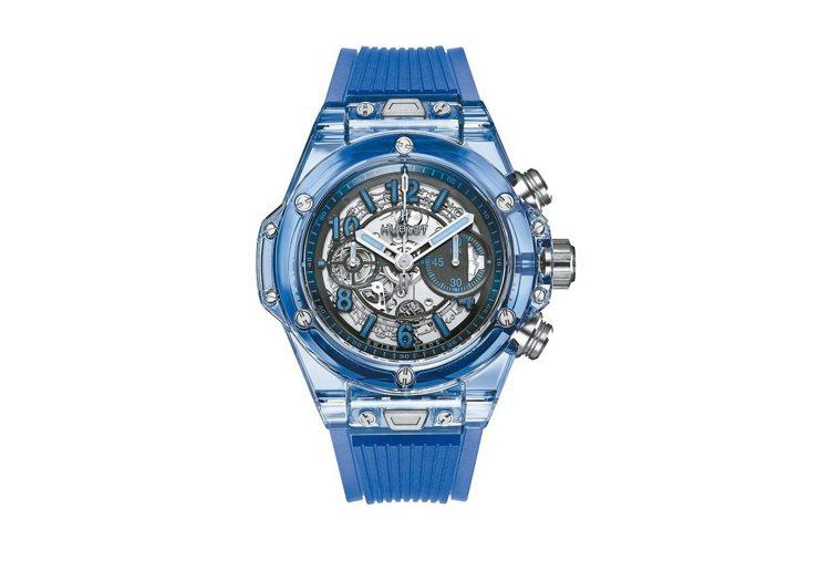 Big Bang Unico藍色藍寶石腕表,自動上鍊導柱輪飛返計時機芯,限量25...