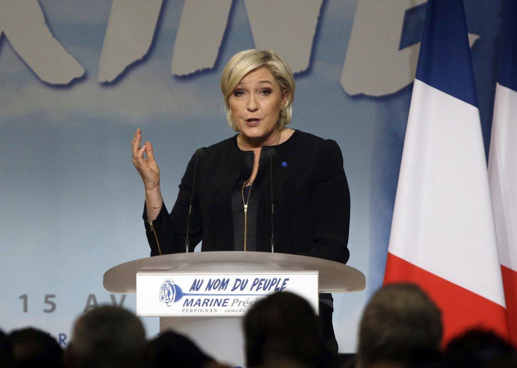 在巴黎香榭麗舍大道20日發生恐攻後所做的第一份民調,極右派候選人瑪蘅.雷朋(Ma...