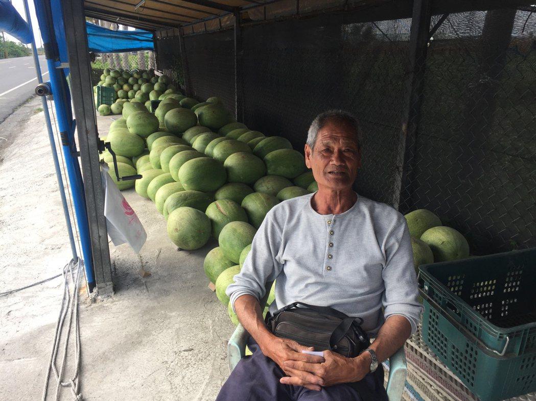 西瓜攤白天由趙福珍看顧。記者吳政修/攝影