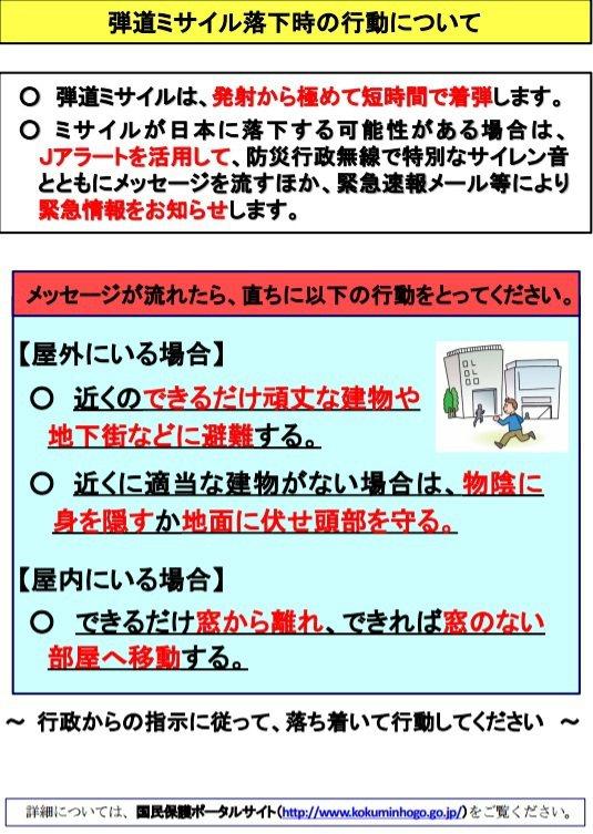 擔憂北韓又「導彈」,日本內閣官房國民保護網發布彈道飛彈攻擊因應辦法。圖/翻攝內閣...