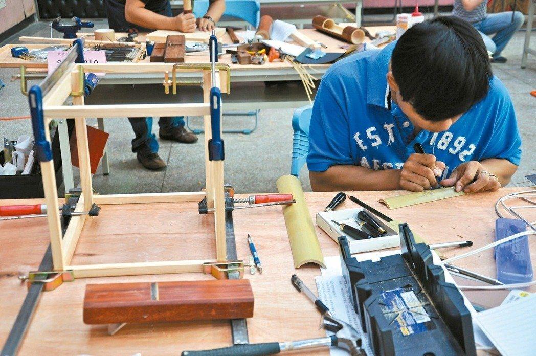 高考技藝類科要考實地測驗,考生得在考場內製作出木竹器、陶瓷、絹印等產品,由於成本...