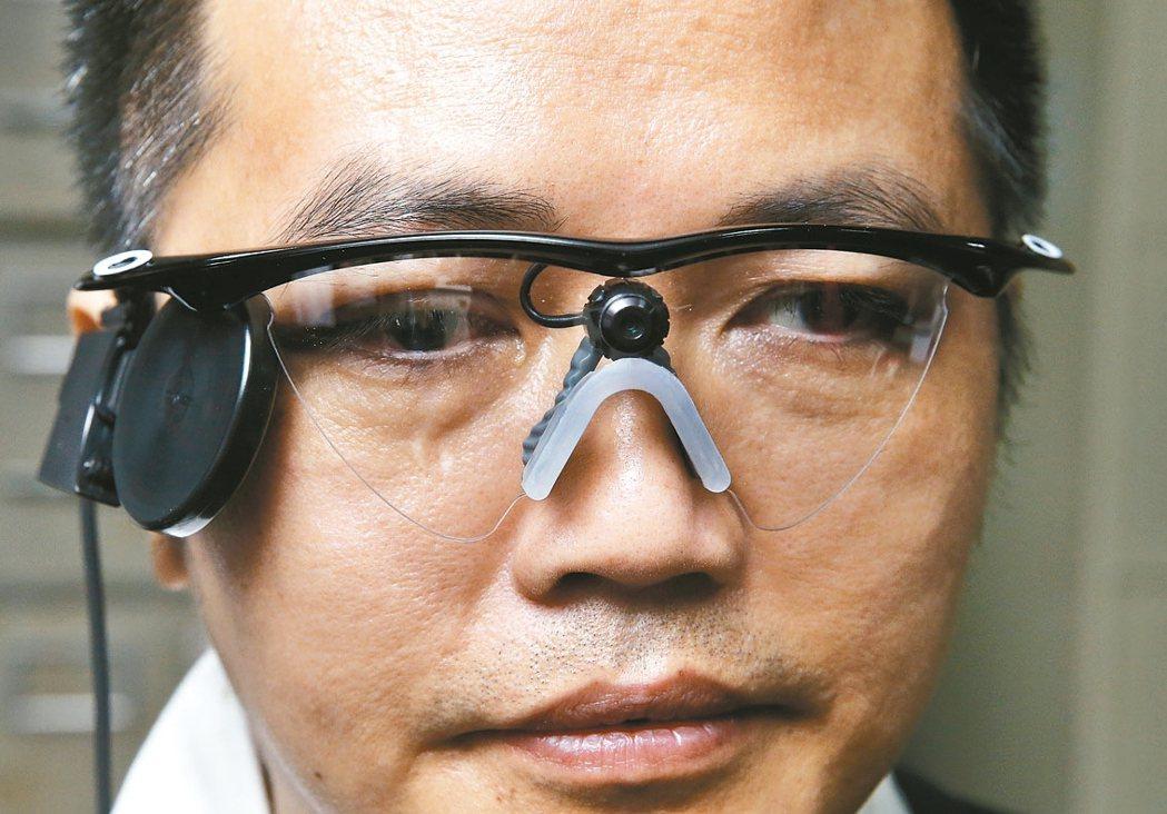 電子眼患者戴上特製眼鏡,眼鏡上的攝影鏡頭擷取影像後,透過電流刺激進入視網膜的晶片...