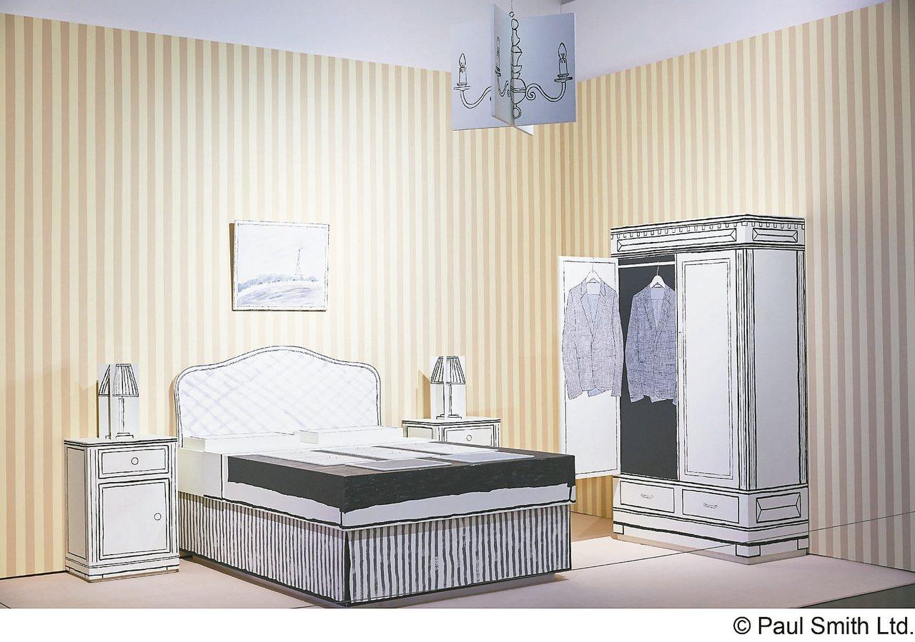 「飯店展示間」展區展示一九七六年Paul租用巴黎一間飯店房間,作為第一次服裝展示...