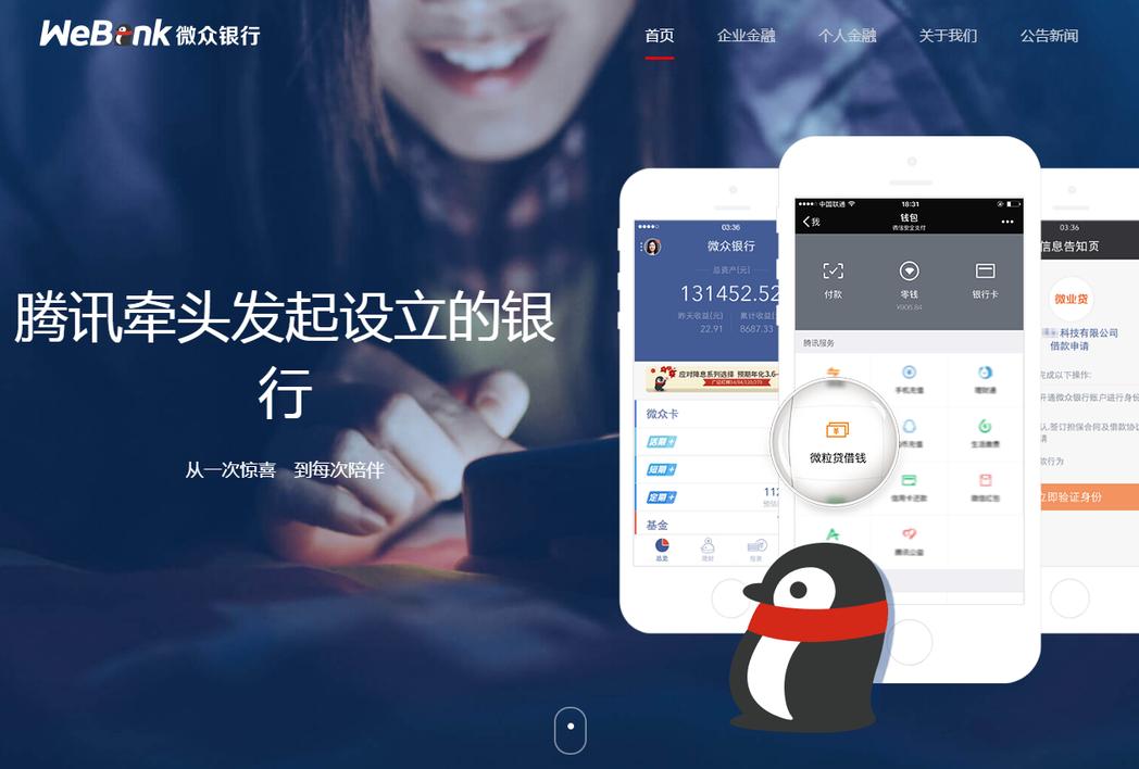 圖擷自Webank官網