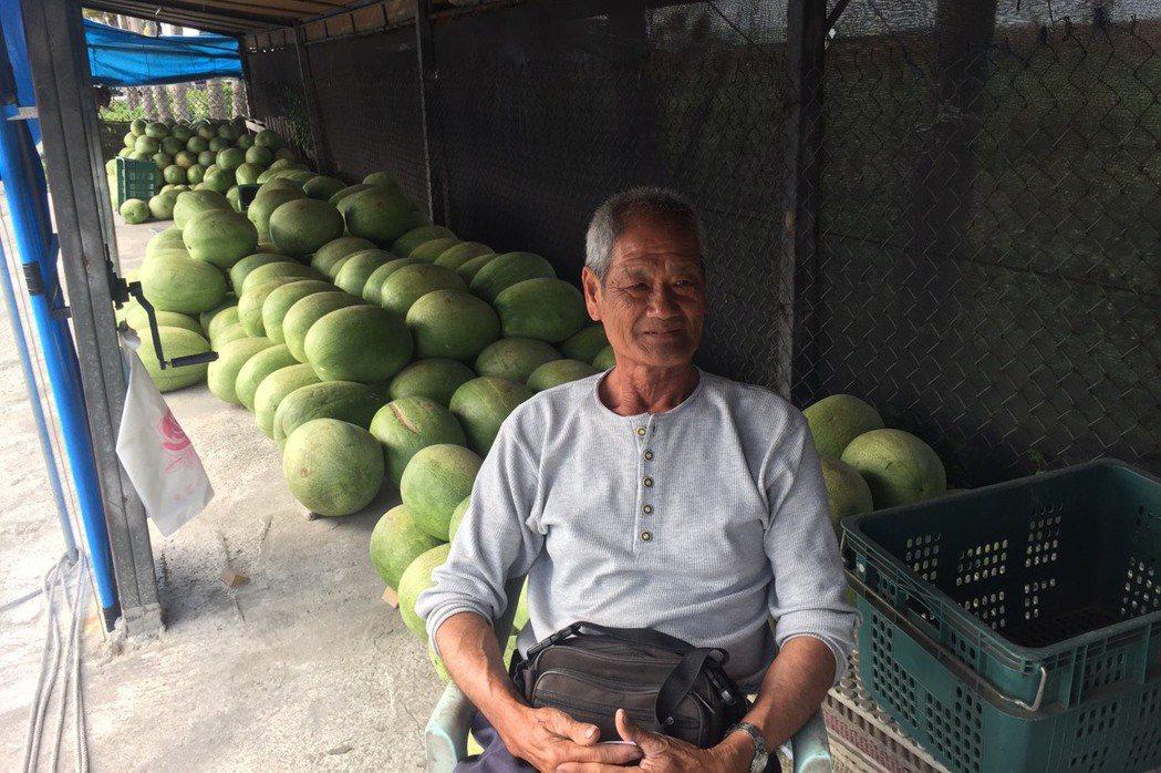 台南已有人在路邊擺西瓜攤。記者吳政修/攝影
