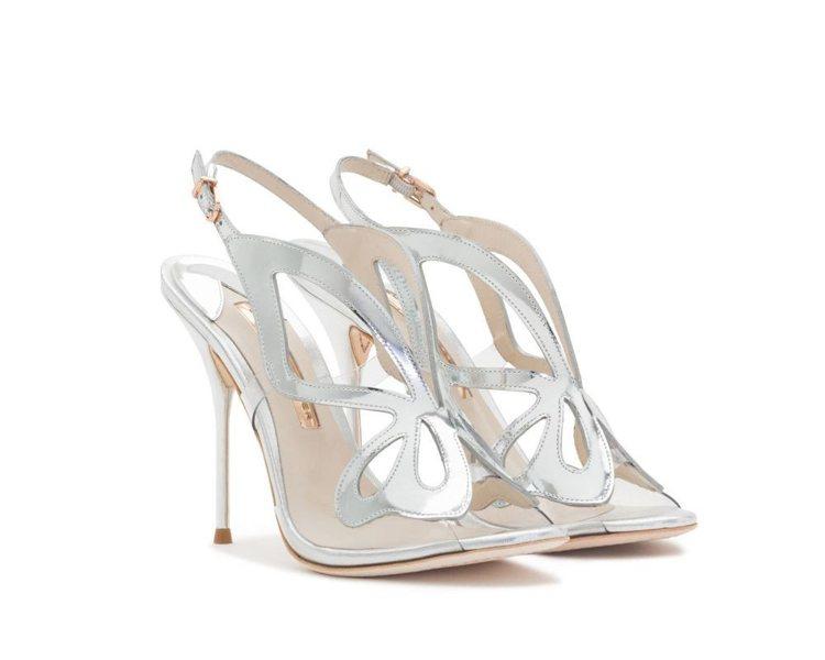 SOPHIA WEBSTER銀色蝴蝶細高跟鞋,售價18,880元。圖/初衣食午提...