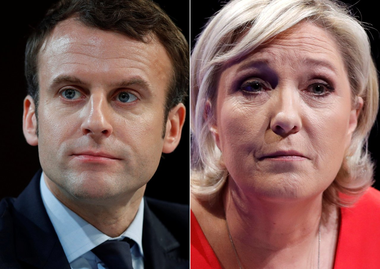 親歐盟的法國中間派候選人馬克宏(左)將在法總統大選第二輪投票中,對上反歐盟的極右...