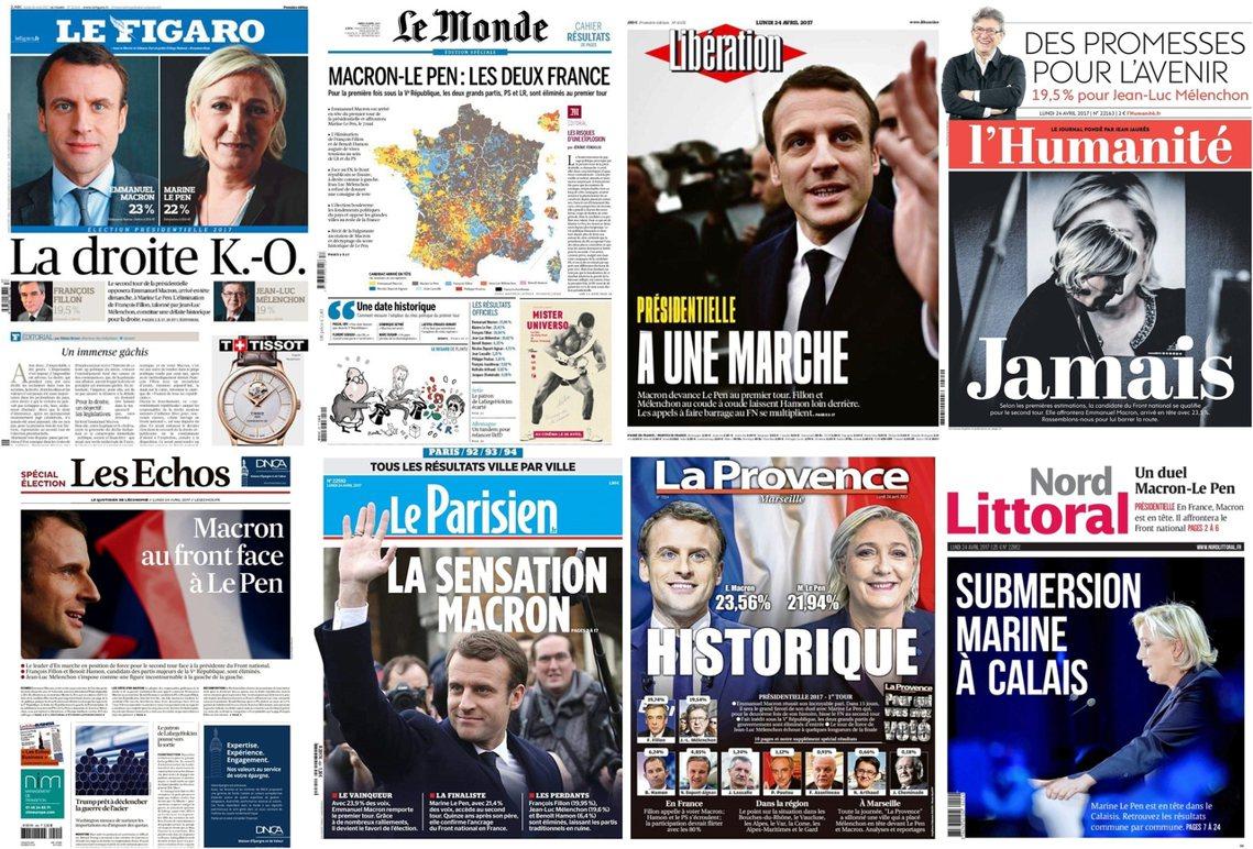 上排由左至右:《費加洛報》、《世界報》、《解放報》、《人道報》;下排:、《回聲...