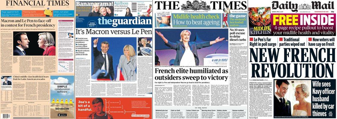 由左至右:《金融時報》、《衛報》、《泰晤士報》、《每日郵報》。
