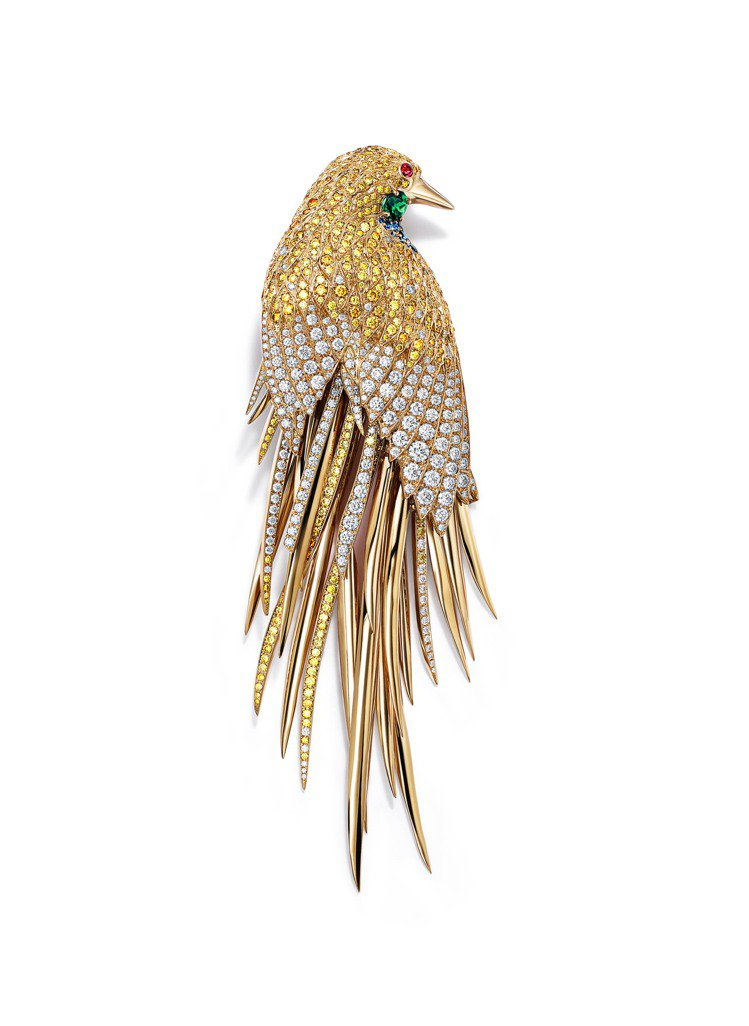 2017 Blue Book系列18k金雀鳥胸針,約1,300萬元。圖/Tiff...