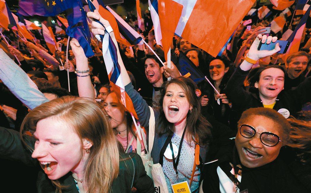 馬克宏的支持者歡欣鼓舞。 路透